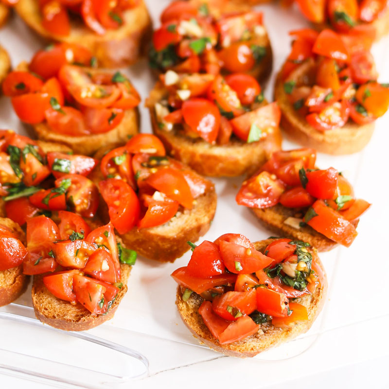 Cherub tomato and bruschetta snacks